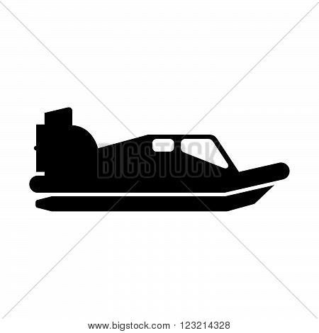 Hovercraft in profile, shade picture, on white bacground