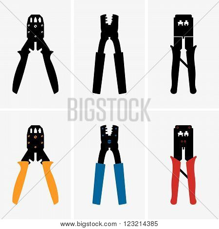 Set of six crimpers on grey background