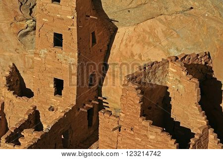 Mesa Verde Cliff Dwellings Glowing in the afternoon sun