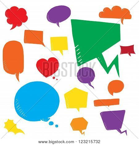 Coloful vector set of talk and think bubles. group of doodle speech bubble on white background