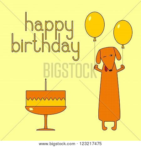 Happy birthday greeting card with funny dachshund holding two balloons. Cake with one candle. Happy birthday lettering. Greeting card / invitation template
