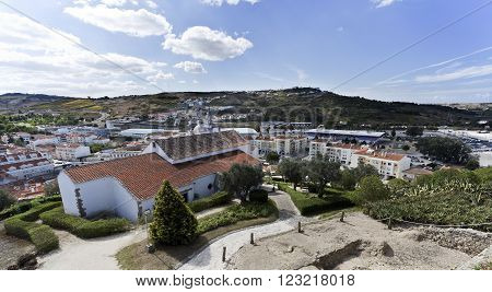The town of Torres Vedras Portugal seen from the top of the medieval castle.