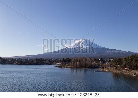 Mount Fuji at Lake Kawaguchi in Japan