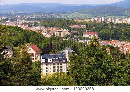 KARLOVY VARY, CZECH REPUBLIC - MAY,15, 2015: street view in Karlovy Vary hotels in Karlovy Vary Carlsbad Czech Republic Europe