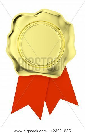 Gold Wax Seal With Red Ribbons Isolated On White