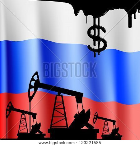 Pumps for oil and the flag of the Russian Federation. Stock vector illustration.