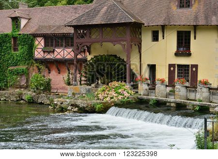 Fourges France - august 13 2015 : the water mill wich is now a gastronomic restaurant