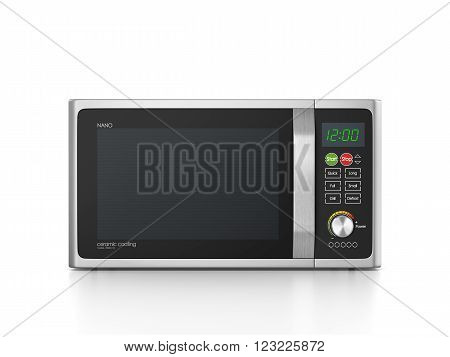 microwave oven isolated on white background . 3d illustration.