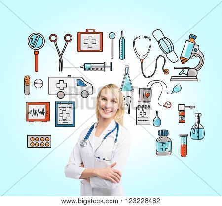 Medical help. Doctor with a stethoscope, close up