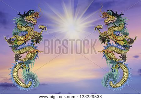 Chinese style dragon statue, blurred background evening before sunset.. - can be used for display your products or promotional and advertising posters.