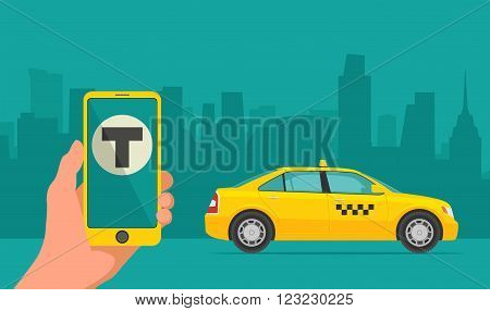Phone with interface taxi on a screen on a background taxi in the city. Mobile app for booking taxi service. Flat vector illustration for business info graphic banner presentations.