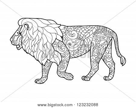 Lion coloring book for adults vector illustration. Anti-stress coloring for adult. Zentangle style. Black and white lines. Lace pattern