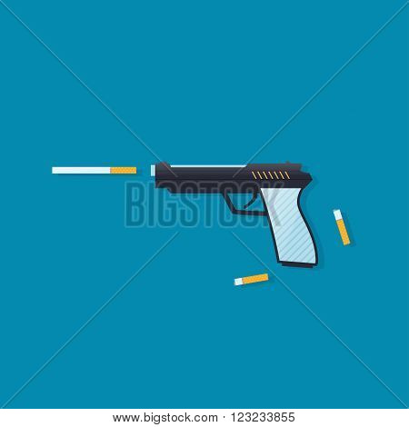 Smoking cigarette is self harm. Stop smoking Vector concept a gun and a cigarette. Shooting cigarettes