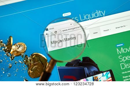 MONTREAL CANADA - MARCH 25 2016 - Morgan Stanley internet page under magnifying glass.