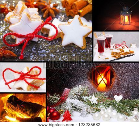 six Christmas motive with cinnamon, fire and other