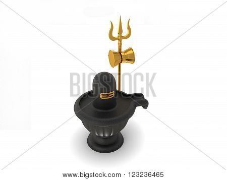 Hindu God Siva Linga with Trident Isolated on White - 3D Rendering