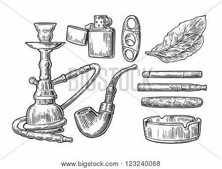 Set of vintage smoking tobacco elements. Monochrome style. Hookah lighter cigarette cigar ashtray pipe and leaf mouthpiece. Vector vintage engraved black illustration isolated on white background.