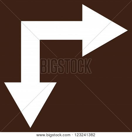 Bifurcation Arrow Right Down vector icon. Image style is flat bifurcation arrow right down pictogram symbol drawn with white color on a brown background.