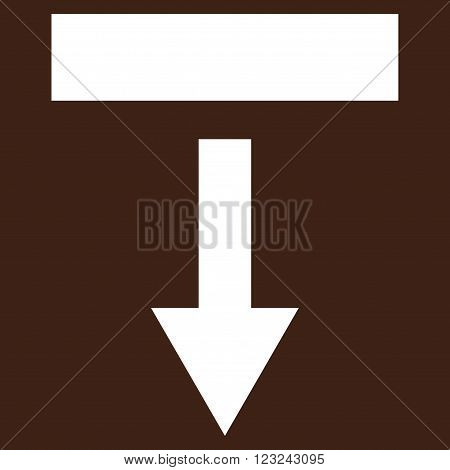 Pull Down vector icon. Image style is flat pull down pictogram symbol drawn with white color on a brown background.