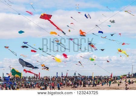Adelaide Australia - March 26 2016: Adelaide International Kite Festival at Semaphore Beach. 2016 Festival featured international kite flyers from Australia New Zealand India and USA