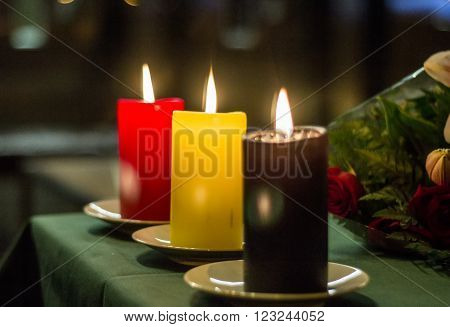 Madrid, Spain - March 22, 2016 - Red, Yellow And Black Candles Composing Belgian Flag At Belgium Emb