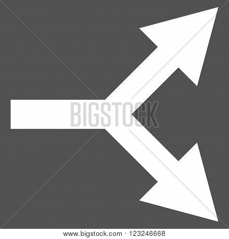 Bifurcation Arrow Right vector icon. Image style is flat bifurcation arrow right pictogram symbol drawn with white color on a gray background.