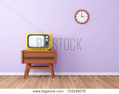 room with retro tv and clock on the background wall. 3d illustration