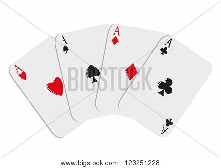 icon gambling. Four playing cards of an ace on a white background