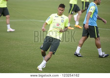Teresopolis Brasil - March 22 2016: Neymar Jr training in Comary Granja which is preparing for the games the World Cup round of 2018 against Uruguay and Paraguay.