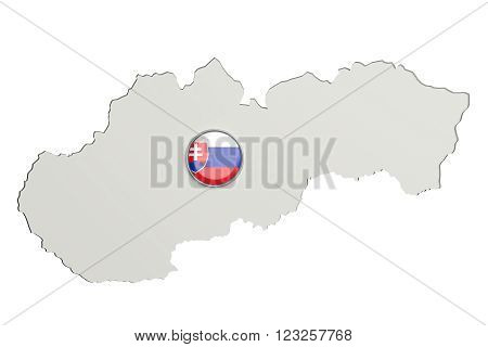 Silhouette Of Slovakia Map With Slovakian Flag On Button