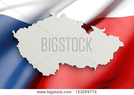 Silhouette Of Czech Rep Map With Czech Rep Flag