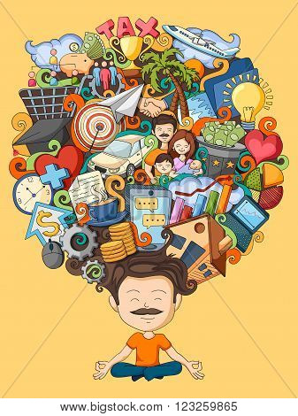 vector illustration of dream and thought of young man