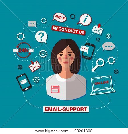 Technical Support. Email Support. Online Service. Woman Operator. Online Assistance. 24 Hour Support. Internet Service. Vector illustration. Flat style