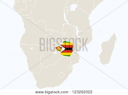Africa With Highlighted Zimbabwe Map.