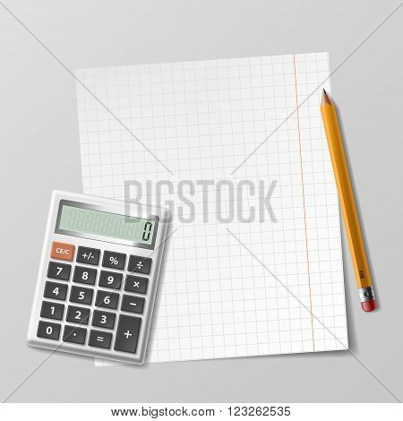 Calculator sheet of paper and pencil lie on the table. Stock vector illustration.