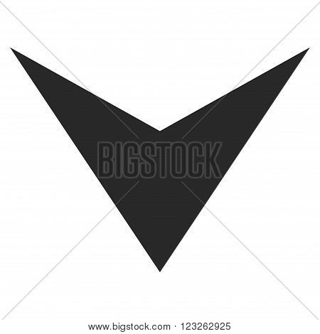 Arrowhead Down vector icon. Arrowhead Down icon symbol. Arrowhead Down icon image. Arrowhead Down icon picture. Arrowhead Down pictogram. Flat gray arrowhead down icon.