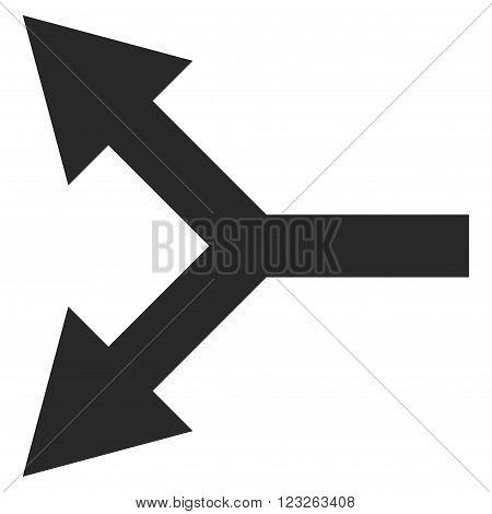 Bifurcation Arrow Left vector icon. Bifurcation Arrow Left icon symbol. Bifurcation Arrow Left icon image. Bifurcation Arrow Left icon picture. Bifurcation Arrow Left pictogram.