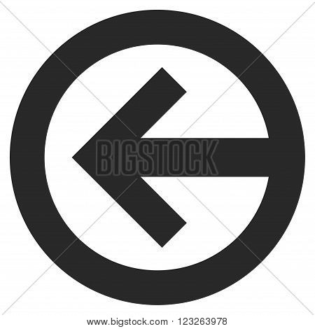 Direction Left vector icon. Direction Left icon symbol. Direction Left icon image. Direction Left icon picture. Direction Left pictogram. Flat gray direction left icon.