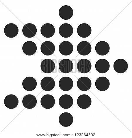 Dotted Arrow Right vector icon. Dotted Arrow Right icon symbol. Dotted Arrow Right icon image. Dotted Arrow Right icon picture. Dotted Arrow Right pictogram. Flat gray dotted arrow right icon.