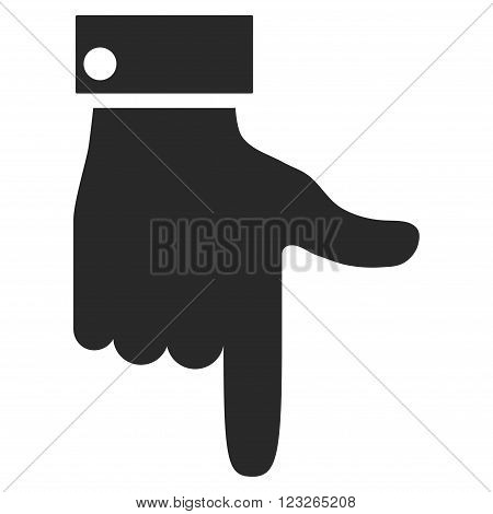 Hand Pointer Down vector icon. Hand Pointer Down icon symbol. Hand Pointer Down icon image. Hand Pointer Down icon picture. Hand Pointer Down pictogram. Flat gray hand pointer down icon.