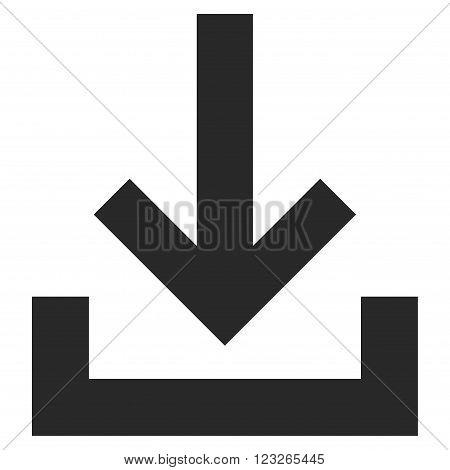 Inbox vector icon. Inbox icon symbol. Inbox icon image. Inbox icon picture. Inbox pictogram. Flat gray inbox icon. Isolated inbox icon graphic. Inbox icon illustration.