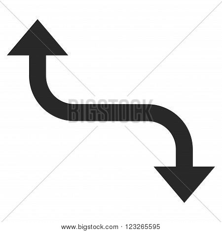 Opposite Bend Arrow vector icon. Opposite Bend Arrow icon symbol. Opposite Bend Arrow icon image. Opposite Bend Arrow icon picture. Opposite Bend Arrow pictogram. Flat gray opposite bend arrow icon.