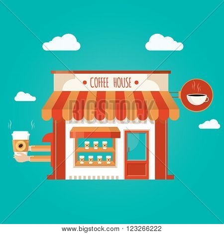 Modern vector illustration of coffee shop on blue background