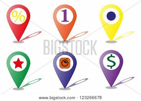 map marker icon vector (point icon) - stock