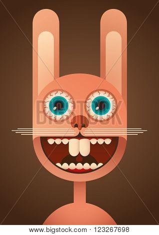 Comic rabbit. Vector illustration.