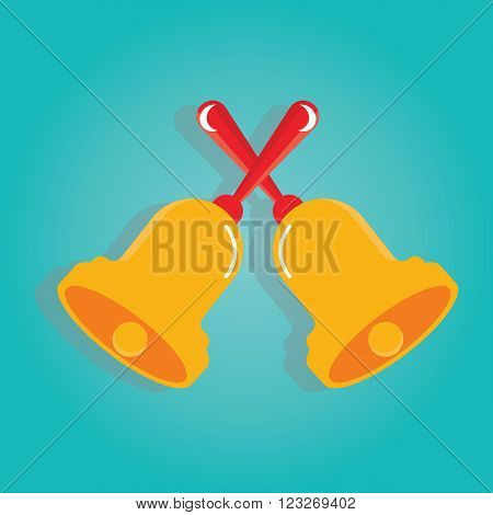 Vector Illustration Of Golden Bells On Colorful Background
