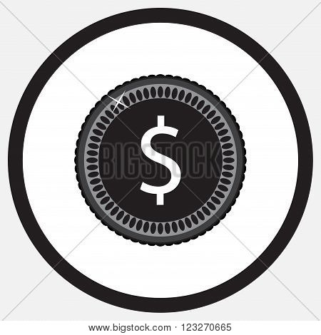 Coin dollar black white monochrome icon. Money and coin icon gold coins silver coins pound coin money finance coin business currency investment icon. Vector abstract flat design illustration