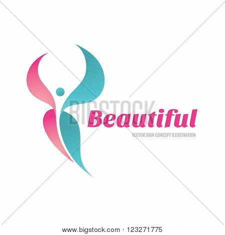 Beautiful vector logo concept illustration. Woman butterfly logo sign. Beauty salon logo sign. freedom logo sign. Human character logo sign. Vector logo template. Design element.
