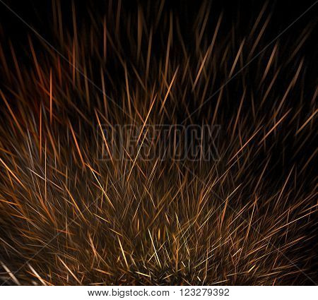 Abstract black background with hedgehog needles or rising star paths, fractal