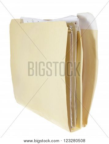 Documents in Folder on Isolated White Background